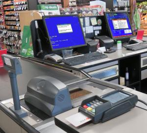 Cashier lanes with CoPOS equipment